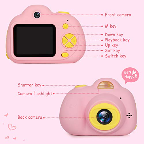 "Kids Camera Gifts for Girls 1080P HD,Mini Rechargeable Children Shockproof Digital Front and Rear Selfie Camera Child Camcorder for 3-9 Year Old Kids Gifts waterproof 2.0"" LCD Screen (Pink) by LeaderPro (Image #7)"