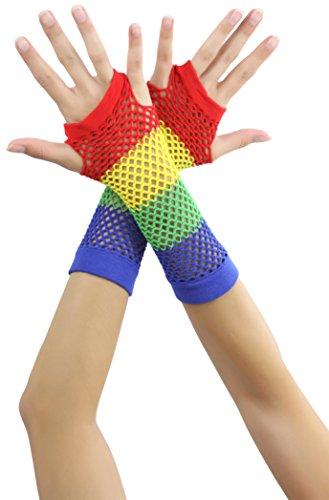 ToBeInStyle Women's Diamond Net Fingerless Gloves - Rainbow - Rainbow Net Fingerless Gloves