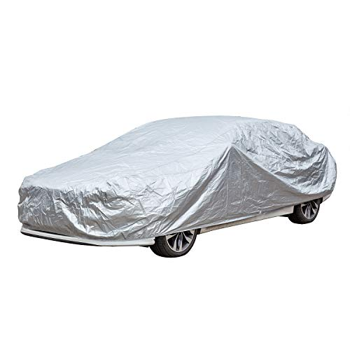 KABATEN Full Car Cover 3 Layer Polyester Sedans Fits UV Protection Breathable Dust Water Proof Scratch Resistant for Automobiles Outdoor Indoor Basic Guard Up to ()
