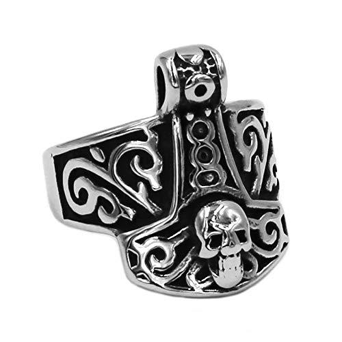 Dunnomart Symbol Myth Thor Hammer Ring 316L Stainless Steel Jewelry Tribal Celtic Knot Ring Motor Biker Skull Men Ring