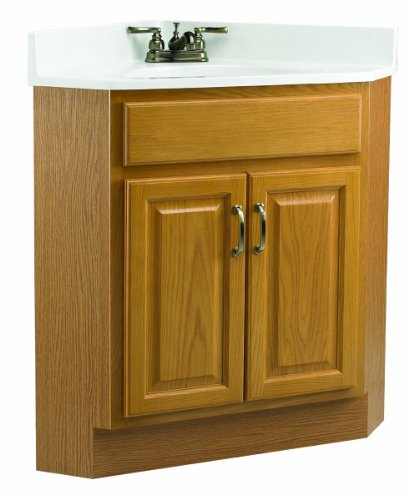Design House 530527 24-Inch by 21-Inch Richland 2 Door Corner Ready-To-Assemble Vanity, Nutmeg Oak