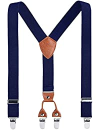 Kids Child Men Boy Suspenders - Adjustable Elastic Solid Color 4 Strong Clips Braces (24Inches (7Months to 3 Years), Navy blue)