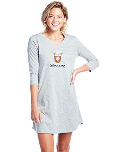 - Caramel Cantina 3/4 Sleeve Junior Women's Night Shirt V Neck (Medium, Catpuccino)