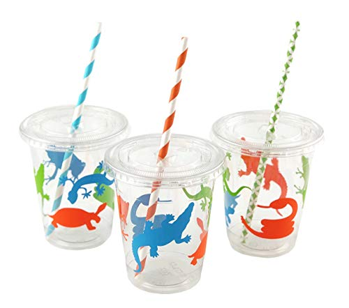 Reptile Cups - 12ct Amphibian Birthday Party Supplies Decorations Favors Ideas