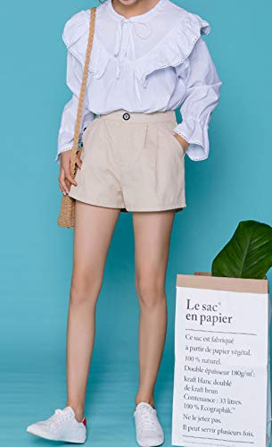 Primavera Maglie Lunga Shirts Tops Loto Fashion Manica Camicie Autunno e Maglietta Foglia Collo T Bluse di Lato Bianca Tinta Moda Unita Simple Rotondo Casual a Giovane Donne Rn5gqg