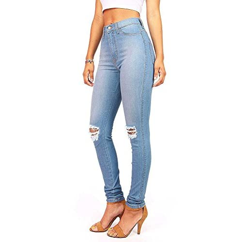 29981118c best Vibrant Women's Juniors Faded Ripped Knee High Waist Skinny Jeans