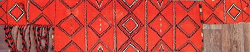One-of-A-Kind Kilim Tribal Hand-Woven 2x7 Orange Wool Antique Oriental Area Rug (7' 2