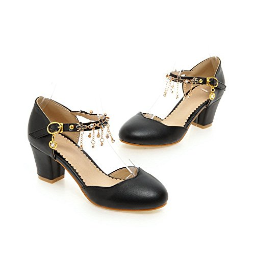 AmoonyFashion Womens Buckle Round Closed Toe Kitten Heels Solid Pumps Shoes Black RVgbAH