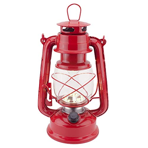 Vintage LED Hurricane Lantern, Warm White Battery Operated Lantern, Antique Metal Hanging Lantern with Dimmer Switch, 15 LEDs, 150 Lumen for Indoor or Outdoor Usage (Red)
