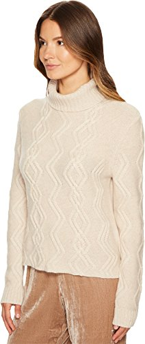 Cashmere In Love Women's Tess Cropped Cable Knit Pullover Wheat Medium by Cashmere In Love (Image #1)