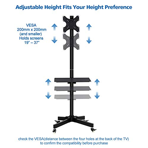 Toolsempire Height Adjustable Mobile TV Cart Rolling TV Stand for 19'' to 37'' Universal LCD LED Plasma Flat Panel Screens Within 200x200mm up to 44lbs with Shelf & Wheels by Toolsempire (Image #1)