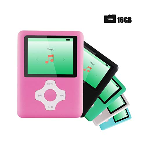 Ultrave MP3/MP4 Player with 16G SD Card, Portable Lossless Sound Player, Rechargeable MP3 Player, Also Support Ebook, Image, 1.8 inches LCD Screen MP3 Music Player -White-on-Pink