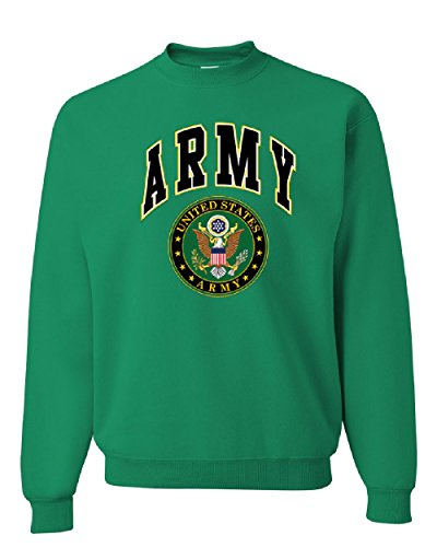 United States Army Crew Neck Sweatshirt Army Crest Patriotic Green L - United States Army Emblem