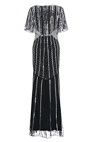 Fork silver Black 1920s Formal Metme Sleeve Open Dress Retro Long Women's Hem Sequined Party Gown wTwUWxq40H