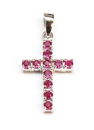 JewelMode 14K White Gold AAA Ruby Cross Shaped Pendant