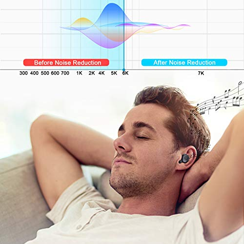 Anbes Wireless Earbuds, D42 Bluetooth 5.0 Wireless Headphones IPX5 Waterproof 18H Playtime Noise Cancelling 3D Stereo Deep Bass in-Ear Headset with Built-in Microphone, Volume Control by ANBES (Image #2)