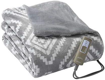 Sunbeam Electric Heated Blanket Throw Velveteen Soft Plush Reversible Throw