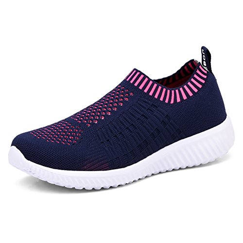 TIOSEBON Women's Athletic Walking Shoes Casual Mesh-Comfortable Work Sneakers 6701 Navy