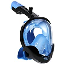 Full Face Snorkel Mask, [2018 Upgraded] 180°Wide View Freely Breath Leak Proof Dry Top Set 2 Air Chambers Fog Free Surface Dive Snorkeling Masks w/ Sport Camera Mount Pivot for GoPro (Blue, L/XL)