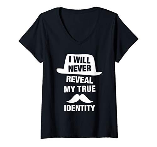 Womens I Will Never Reveal My True Identity Funny Spy Saying Phrase V-Neck T-Shirt