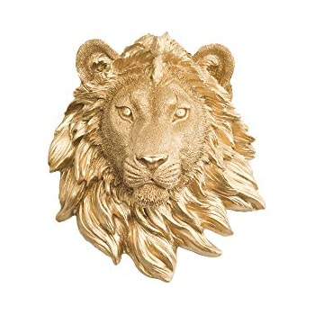 Amazon.com: Wall Charmers Lion Mini in Gold - Faux Head Bust Mounted ...