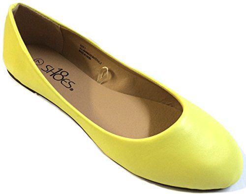 Yellow Leopard - Shoes 18 Womens Ballerina Ballet Flat Shoes Solids & Leopards (10, Yellow PU 8600)