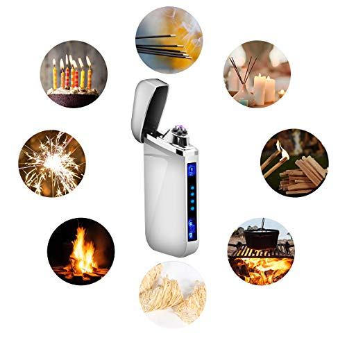 Lighter, Electric Plasma Arc Lighter Windproof USB Rechargeable Coil Lighter Magic Smart Cool Lighter for Camping, Fire Starter, Hunting, Backpacking,Hiking,EDC Gear