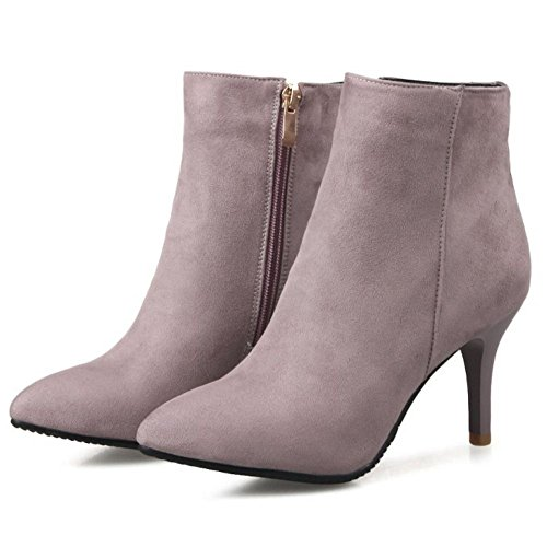 TAOFFEN Ankle Fashion Stiletto Pink High Boots Women's Heel rBrSP