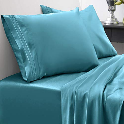 1800 Thread Count Sheet Set – Soft Egyptian Quality Brushed Microfiber Hypoallergenic Sheets – Luxury Bedding Set with Flat Sheet, Fitted Sheet, 2 Pillow Cases, Queen, Teal