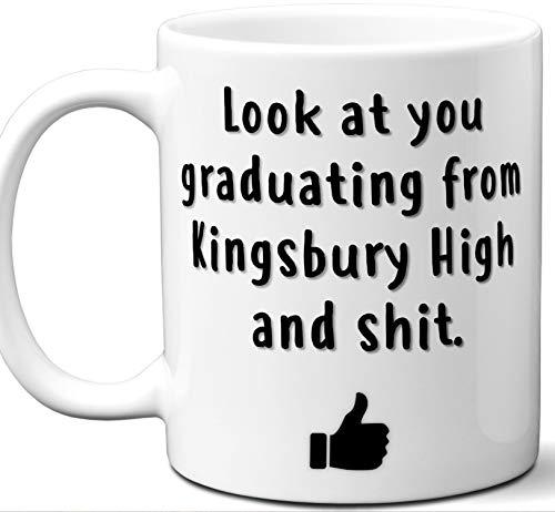 Kingsbury High Graduation Gift. Cocoa, Coffee Mug Cup. Student High School Grad Idea Teen Graduates Boys Girls Him Her Class. Funny Congratulations. 11 oz.