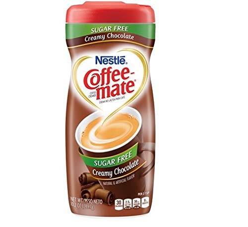 PACK OF 12 - Nestle Coffeemate Sugar Free Creamy Chocolate Powder Coffee Creamer 10.2 oz. Canister