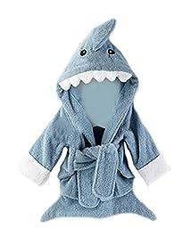 Ru Sweet Cartoon Themed Hooded Bathrobe, Terry Baby Towel, 0-2 years old Shark S