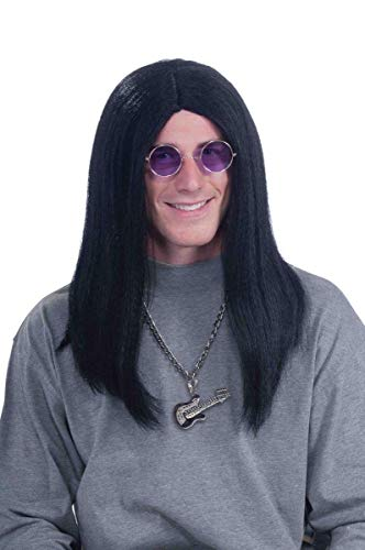 Forum Novelties Men's 80's Super Rocker Ozzy Costume Wig, Black, One Size