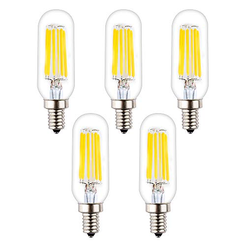 Base Medium 60w Equivalent - OPALRAY T8/T25 LED Small Tubular Bulb, 6W Dimmable, 4000K Natural White Daylight, 60W Incandescent Equivalent, LED Filament Lamp, E12 Candelabra Bulb Base, Clear Glass Tube Tip, Pack of 5