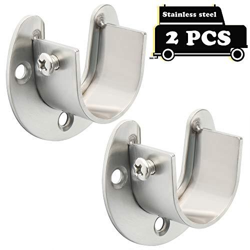 Alise 2 Pcs Shower Closet Rod Set Holder Flange Socket Bracket Supports 1-Inch Dia,Stainless Steel Brushed Nickel FL8001LS-2P (Curtain Rods With Shelf Brackets)