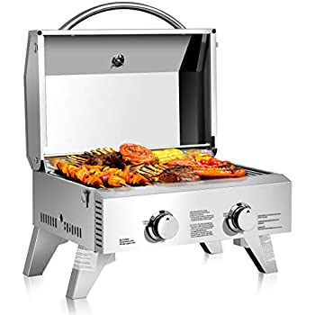 Giantex Propane Tabletop Gas Grill Stainless Steel Two-Burner BBQ, with Foldable Leg, 20000 BTU, Perfect for Camping, Picnics or Any Outdoor Use, 22