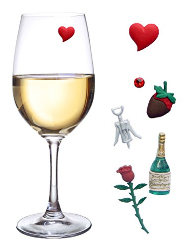 Valentines Day Wine Charms Magnetic Markers for Glasses Set of 6 Cocktail Charms for Wine Lovers
