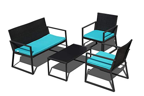 PATIOROMA 4-Piece Outdoor Patio Furniture Sectional Conversation Set, Black Wicker with Blue Cushions, Loveseat and Two Single Chairs, Steel Frame (Blue)