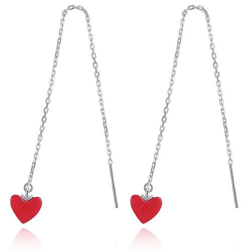 Date Heart Earrings - eroute66 Fashion Women Long Love Heart Linear Thread Earrings Party Wedding Date Jewelry - Red