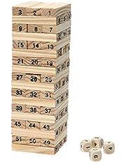 لعبة مكعبات بناء البرج من خشب الصنوبر بنمط الدومينو