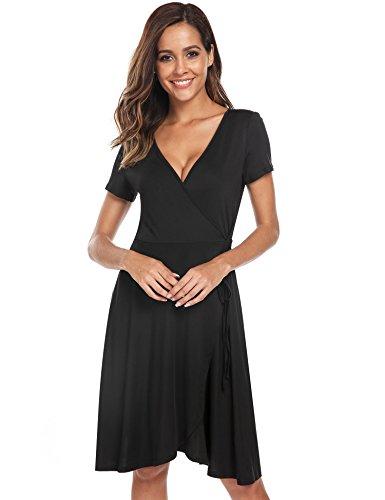 Beyove Girls Fit and Flare Dress Short Sleeve Cross Crepe Wrap Dress