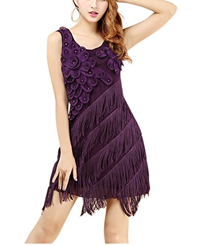 Vintage 1920 20s Speakeasy Era Event Party Fashion Attire Dress Costune Purple, Purple, 0 / -