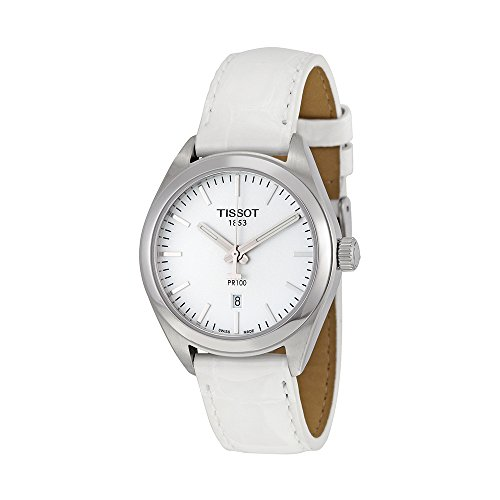 Tissot Women's 'Pr 100' Swiss Quartz Stainless Steel and Leather Automatic Watch, Color:White (Model: T1012101603100)