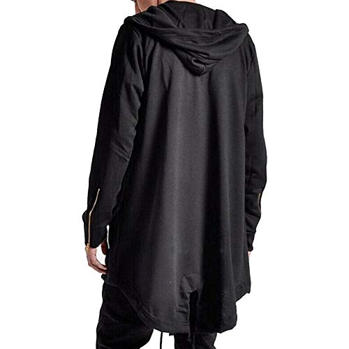 Mens Hooded Cardigan Coat Open Edge Long Cloak Cape Loose Casual Jacket with Pockets (Black, L) (Jacket Men Cloak)