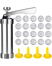 Cookie Press Stainless Steel Biscuit Press Cookie Gun Set with 20 Discs and 4 Icing Tips for DIY Biscuit Maker and Decoration