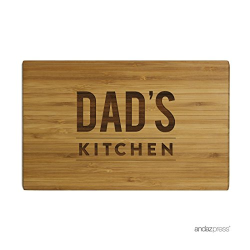 Andaz Press Laser Engraved Small Bamboo Wood Cutting Board, 9.5 x 6-inch, Dad's Kitchen, 1-Pack, Father's Day Grandpa Uncle Christmas Gift Ideas