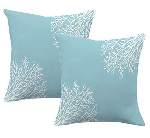Set of 2,Blue Ocean Coral Pillowcases,Sea Beach Coastal Decorative Pillow Case Home Decor Square,Blue White 20x20inch