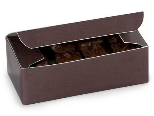 d Gloss Dark Chocolate Brown Candy Wedding Party Favor Boxes 5.5 Inch x 2.75 Inch x 1.75 Inch (Dark Chocolate Fudge Box)