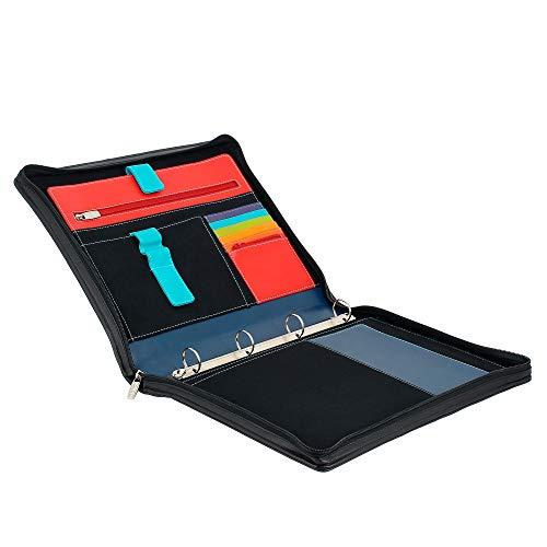 Zip con Pelle in DUDU Vera Cartella Nero di Portadocumenti Anelli A4 Maniglia con Trasporto Cerniera e HB608