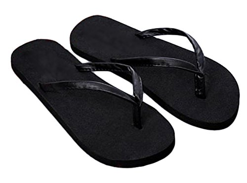 Nanxson(TM) Women Basic Solid Color Slim Flip-Flop Sandal TX0018 (US7.5, black) (Kids Hobbit Feet)